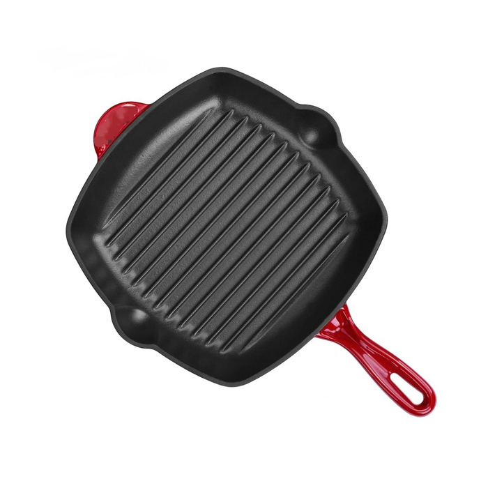 Customized Casting Iron of Home Kitchen Premium Cookware Enamel Cast Iron Square Griddle Pan